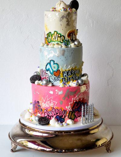Graffiti-16th-Birthday-Cake